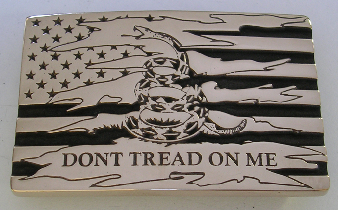 American Don't Tread on Me Flag Belt Buckle by Northwest Brass Works Made in the USA Military Gadsden Patriot Liberty Freedom Army Navy Air Force Marines Veteran Molon Labe Old Glory Snake Attack Stars Stripes