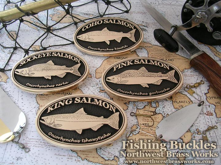 Sport Fishing Belt Buckles Salmon, Stealhead, Rainbow Trout, Striped Bass, Albacore, Yellowfin Tuna, Bass, Mahi Mahi, Buckles for the Fisherman Fish for Food Northwest Brass Works