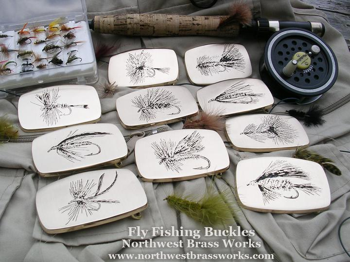 Custom Fly Fishing Belt Buckles Solid Brass Caddis Mayfly Bugger Leech all made in the USA Northwest Brass Works