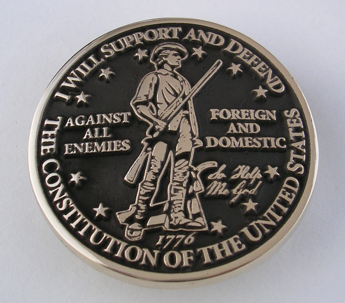 Military Oath Belt Buckle I will support and defend the constitution of the united states of america