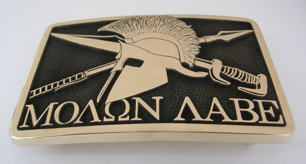 Molon Labe Belt Buckle by Northwest Brass Works Solid Brass Made in USA Come Take it Pronunciation Meaning Tattoo Decal Shirt Sticker Bottom View Picture