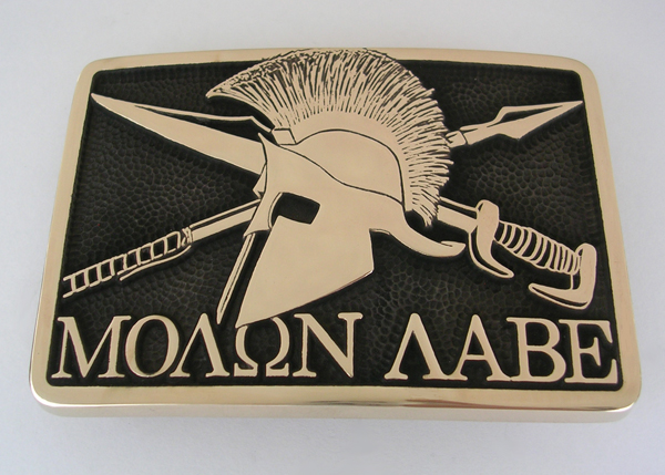 Molon Labe Belt Buckle by Northwest Brass Works Solid Brass Made in USA Come Take it Pronunciation Meaning Tattoo Decal Shirt Sticker Front View Picture