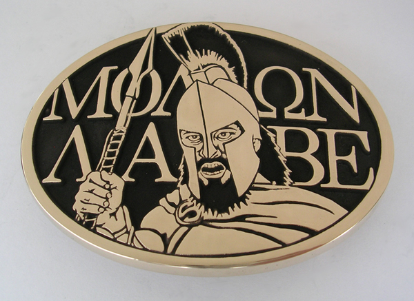 Molon Labe Belt Buckle by Northwest Brass Works Solid Brass Made in USA Come Take it Leonidas Spartan 300 Special Forcenciation Meaning Tattoo Decal Shirt Sticker Camo US Militas