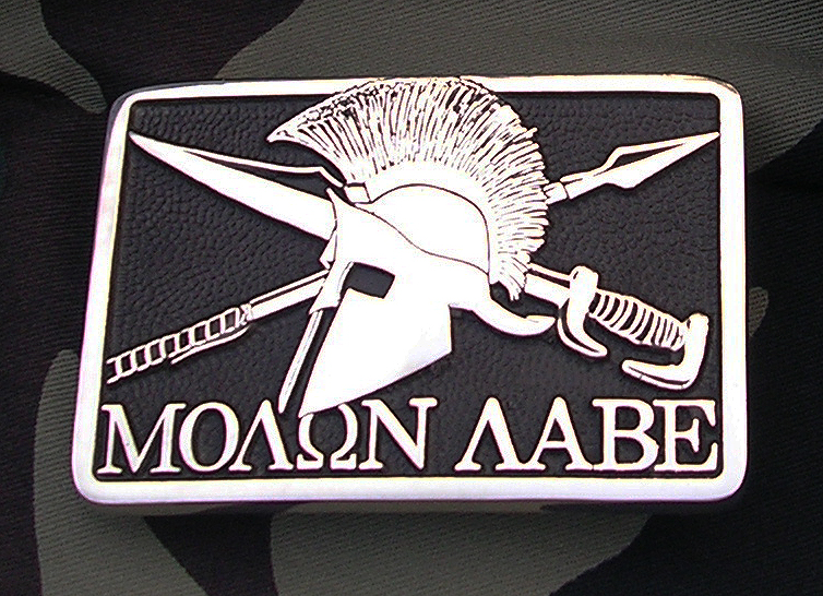 Molon Labe Belt Buckle by Northwest Brass Works Solid Brass Made in USA Come Take it Pronunciation Meaning Tattoo Decal Shirt Sticker Camo US Military Special Forces