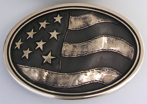 Old Glory American Flag Buckle Solid Brass Made in the USA