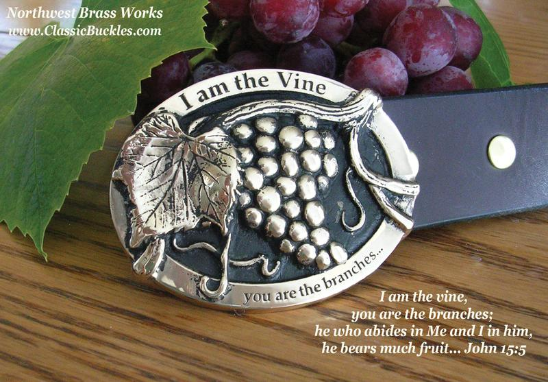 I am the Vine Buckle Jesus Bible Christian Classic Buckles Northwest Brass Works