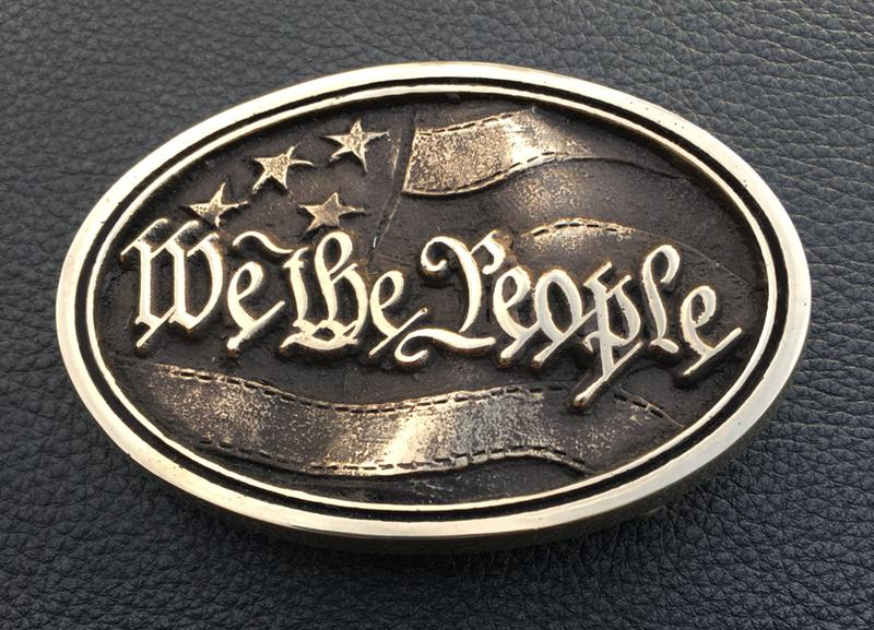 We the People American Flag Old Glory Brass Belt Buckle Made in the USA