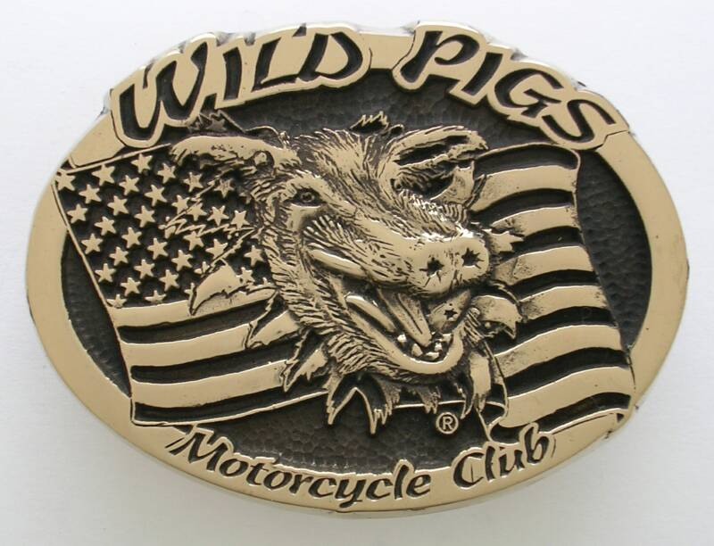Wild Pigs Motorcycle Club Buckle