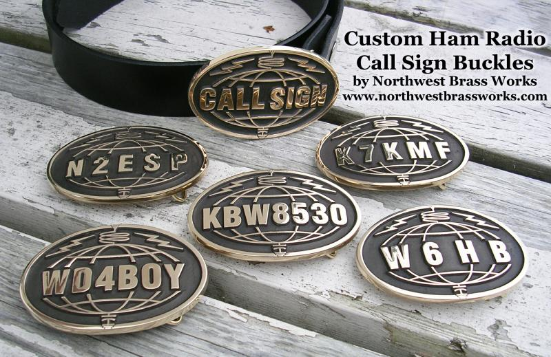 Custom Ham Radio Call Sign Belt Buckles by Northwest Brass Works Amateur Radio Call Sign Buckle