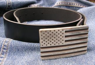 American Flag Buckle Patriot  Solid Brass Made in the USA Classic Buckles