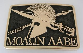 Molon Labe Second Amendment 2nd Come and Take it Guns NRA Camo Solid Brass Belt Buckle Patriot