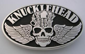 Knucklehead belt buckle motorcycle engine harley davidson indian biker silver brass belt buckle made in the usa steel horse rider skull wings
