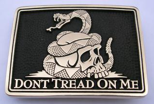 Dont Tread on Me Skull Snake Belt Buckle Gadsden Flag Buckle By Northwest Brass Works Copyrighted Design 2015