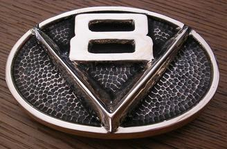 V8 Emblem Buckle Hot Rod Rat Rod Car Mechanic