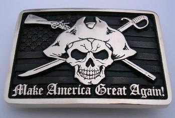 Make America Great Again Patriot Skull Old Glory American Flag Belt Buckle Northwest Brass Works Made in the USA Classic Buckles